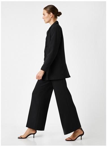 Koton Koton Uzun Geniş Paça Pantolon Siyah